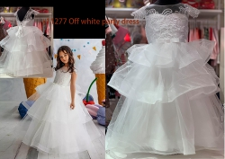 #11277 size: 2-3/6-7/8-9/10-11 yrs White color embroidered pattern party dress with 5 layer mesh