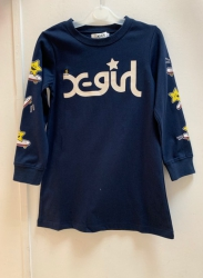 #11299 size: 3-4/4-5/6-7yrs Full cotton dark blue color star pattern long tee