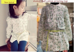 #11607 Size for 3/4/5/6/8yrs Full Cotton Printing Top